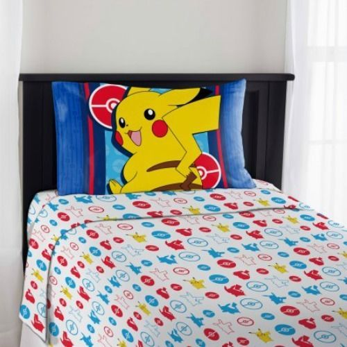 Pokemon Twin Sheet Set 3 Piece Pikachu Electric Ignite Flat Fitted Kids Bedding #Pokemon #Pikachu