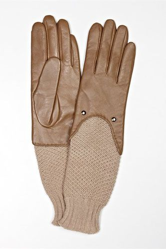 Luxe Leather Gloves To Protect Your Pointers This Winter #refinery29  http://www.refinery29.com/leather-gloves#slide6  DKNY Carolina Amato Knit Sleeve Leather Glove, $135, available at DKNY.