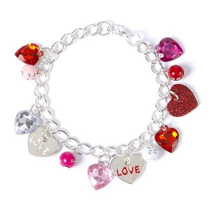 Love is all around on this Valentine's Day Heart Charm Bracelet