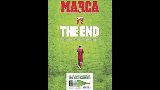 """Lamentable final de una época gloriosa"", la portada de ""Marca"". June 19, 2014."
