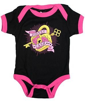 """CASH, JOHNNY Black Baby One Piece with Pink Border & a Gold Lock and Key Set with """"Johnny Cash""""  on Pink Banner - 0-3M  (Sourpuss) One Piece - $14.99 - 1-KOS-86073"""