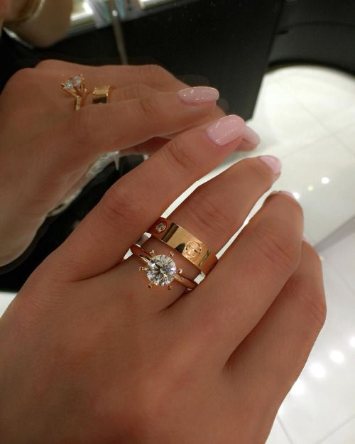 Round Solitaire Engagement Ring with Cartier Gold Band