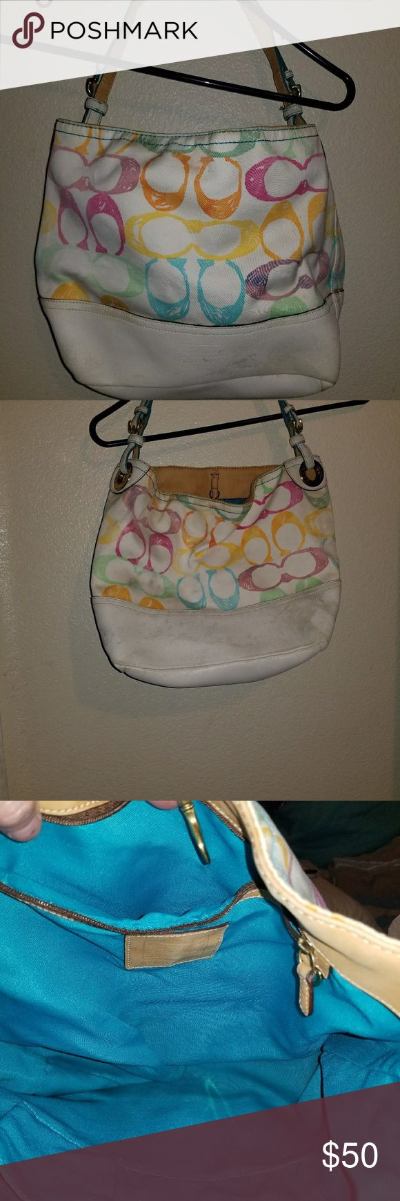 Coach Purse A Coach tote multu color pastels,inside is clean the whit on the outside bottom is not super white but its still a great bag Coach Bags Totes