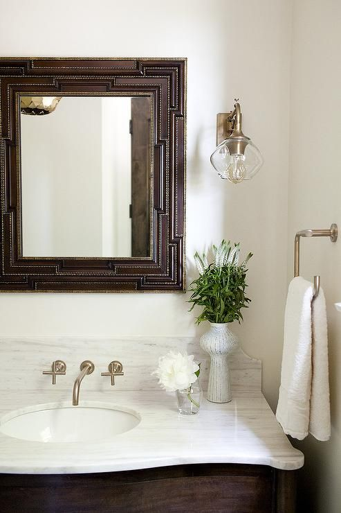Brown Washstand With White Italian Marble   Transitional   Bathroom