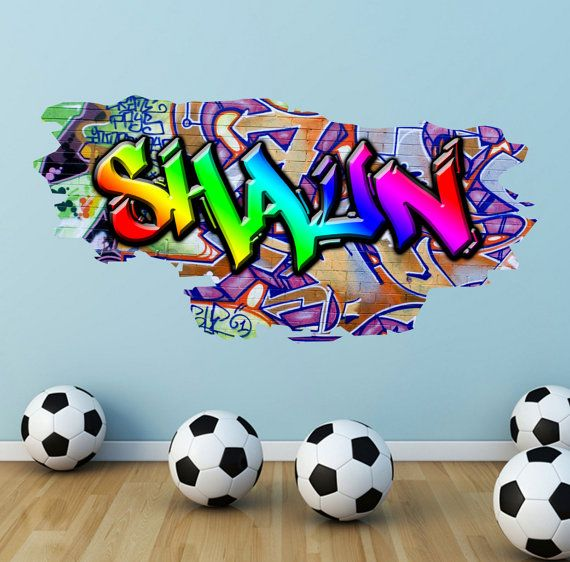 Personalised Graffiti Name Wall Decals Full Colour Wall Art Sticker Transfer Print Girls Boys Bedroom Wall Stickers