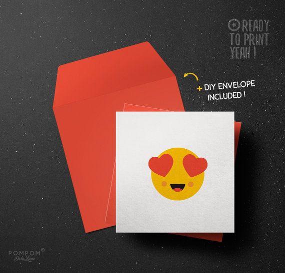 Carte de voeux Smiley amour À IMPRIMER Emoticon Emoji carte de voeux imprimable Enveloppe DIY
