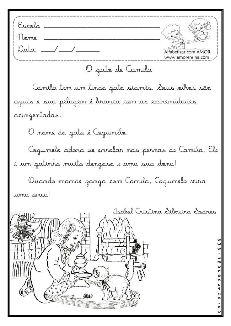 Alfabetizar com AMOR: O GATO DE CAMILA - DOIS TIPOS DE LETRAS / INTERDISPLINAR / 1º ANO - 2º ANO ( CA/CO)