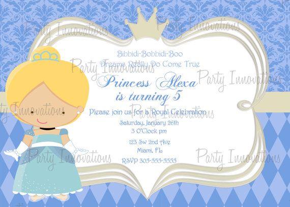 Printable  Princess Cinderella Birthday Party Invitation plus free thank you card via Etsy