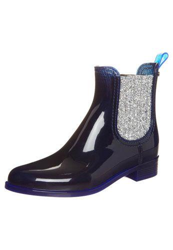Gummistiefel im Chelsea Boots Stil mit silbernen Glitzerpartikeln von Lemon Jelly