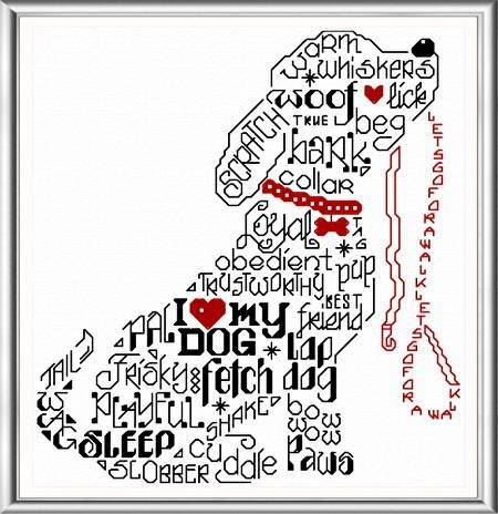 Lets Bark - cross stitch pattern designed by Ursula Michael. Category: Words.