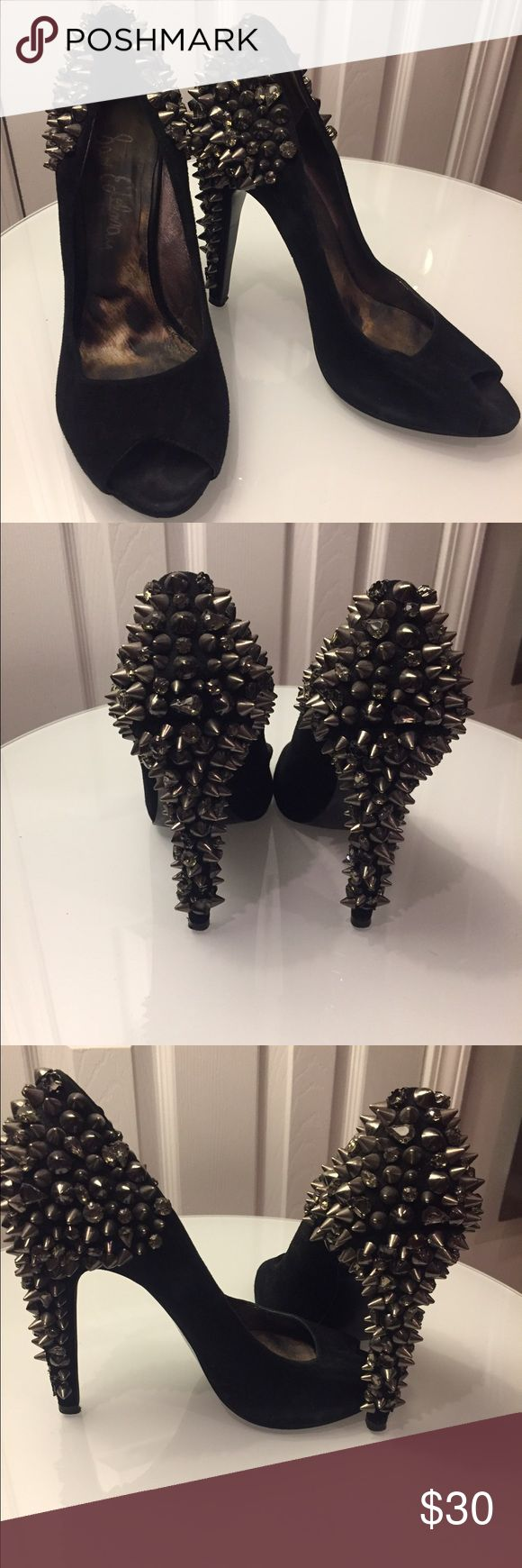 Sam Edelman Spiked Heels Sam Edelman open toe all black spiked heel. Couple of spikes are missing. Lightly used. Sam Edelman Shoes Heels