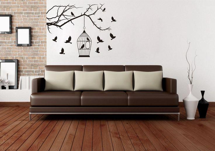 Wandtattoo - Modern Wandtattoo |Vögel mit Käfig  - ein Designerstück von taia-s bei DaWanda