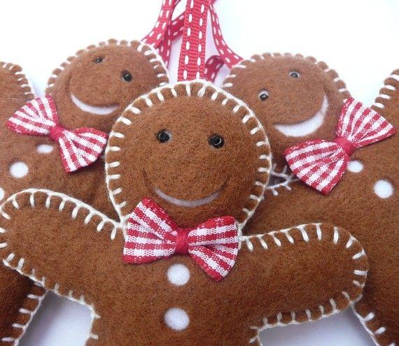 felt fabric gingerbread cookie man men decorations ornaments christmas - jul julepynt i filt stof syet sy kagemænd honningkage mand honning kage mænd
