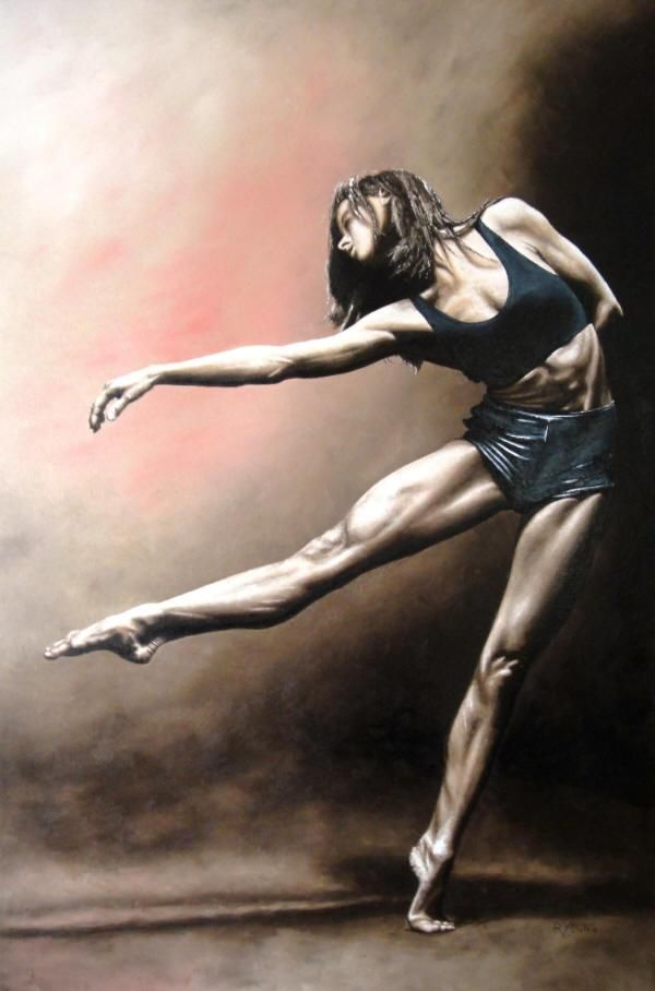 With Strength and Grace fine art modern dance oil painting of Lorraine Blouin