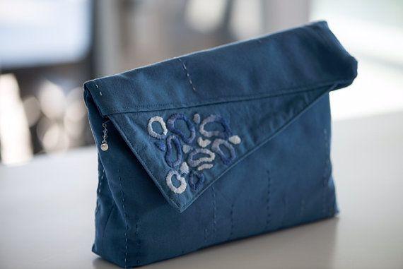 Blue foldover clutch by MaraGirone on Etsy