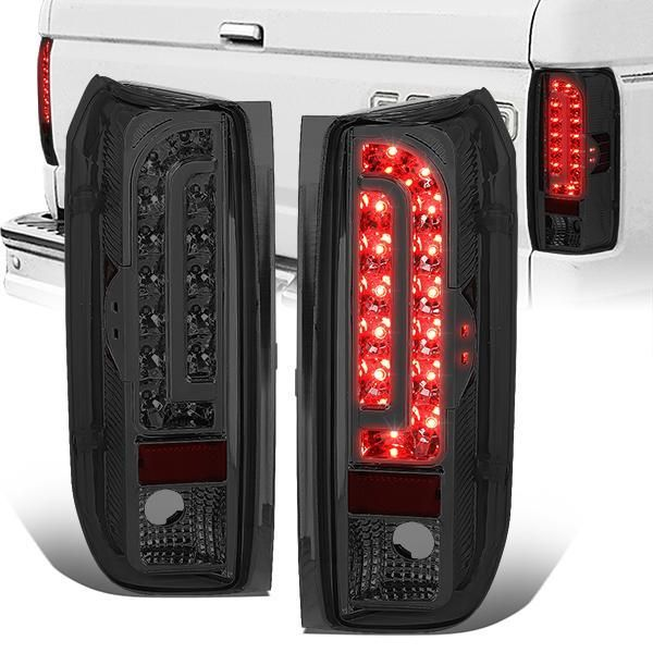 90 97 Ford F150 F250 F350 Bronco Led Rear Brake Tail Lights Smoked Housing Tail Light Ford F150 F350