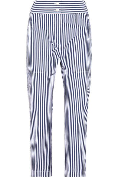 Adam Lippes draws inspiration from architecture and French avant-garde artists. Made from striped cotton, these slim-leg pants have a tailored mid-rise waistband and are cut in a cropped silhouette. Wear them with deconstructed shirting for a directional look.