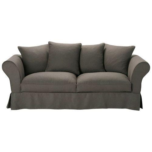 Divano in lino color grigio tortora 3/4 posti