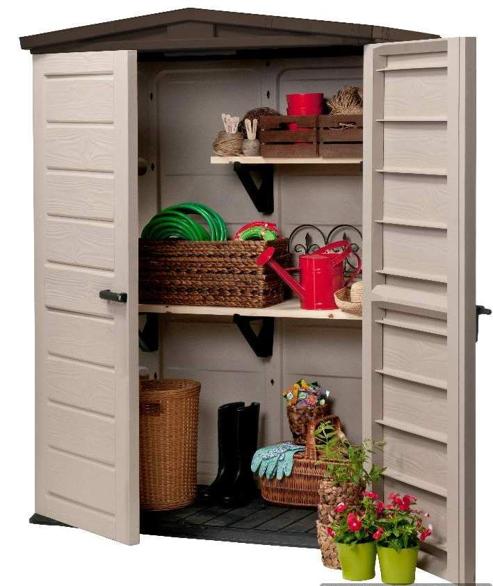 the new outdoor storage solution from keter is the woodland high plastic shed neat and compact it is designed for secure storage in limited spaces