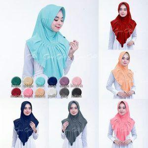 Jilbab instan / Hijab Instan Zenova with pad Jersey Zoya, Jilbab instan dengan pad, dipercantik dengan aksen rempel plisket di bagian depan serta mutiara warna senada di bagian atas rempel, WA +628129936504