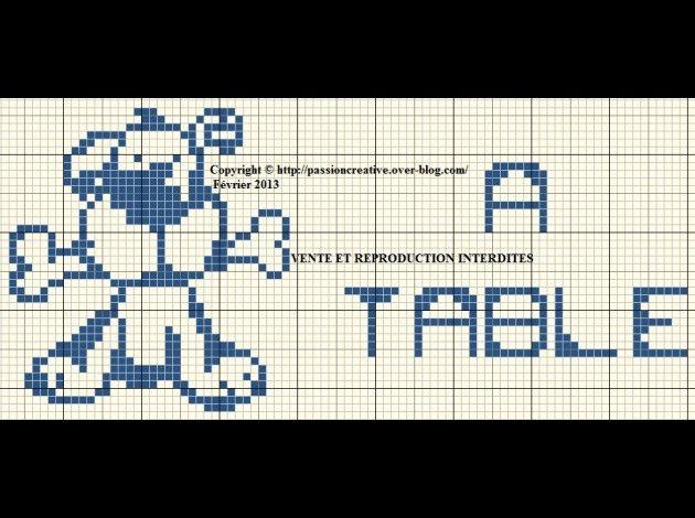 bébé - baby - chien - os - à table - point de croix - cross stitch - Blog : http://broderiemimie44.canalblog.com/