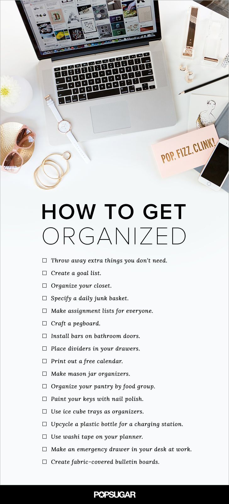 Don't forget about your office, too — there are plenty of ways to keep your space neat for the most productive of workdays. Check out all of our resolutions for systemization, and get to organizing!