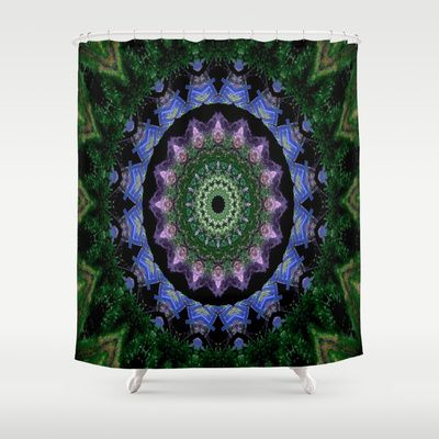 Green, blue, black and lavender pattern shower curtain