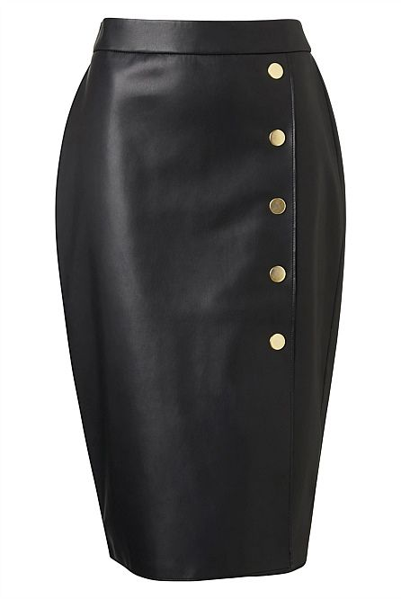 Button Split Midi Skirt