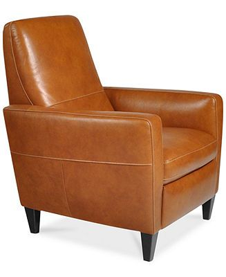 "Asher Leather Recliner Chair in ""Oregon Brown"" - Macy's.  Another attractive contemporary looking recliner.  Would go well with the Alessia sectional.  Tall back.  Cream colored stitching - would coordinate with the Alessia ""Pearl"" color.  Dimensions: 33""W x 39""D x 42""H.  Current special price $650."