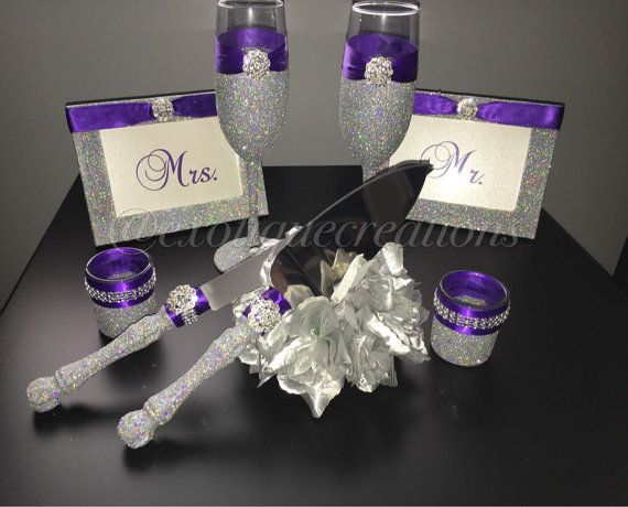 Silver with BLING and Purple 8pc Wedding Set, toasting Flutes, cake server,cake cutter,frames,candle holder, brides gift, bridesmaids gift