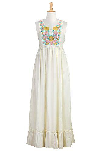 I <3 this Floral bib front maxi dress from eShakti