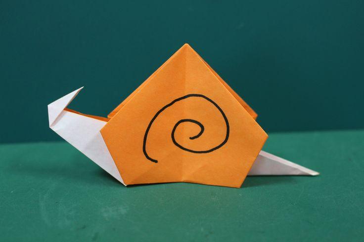 """Origami """"Snail"""" 折り紙 「かたつむり」折り方"""