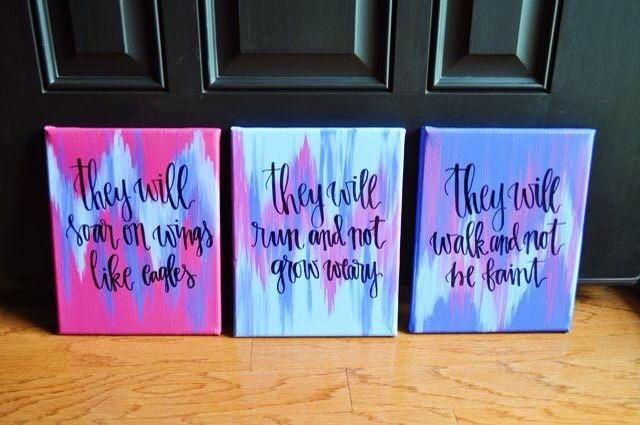 Isaiah 40:31 // set of 3 8x10 paintings // bible verse paintings // scripture paintings // canvas quote // quote painting by FreespiritGrace on Etsy https://www.etsy.com/listing/448548022/isaiah-4031-set-of-3-8x10-paintings