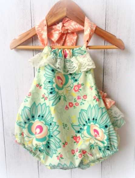 Baby Girls Ruffle Bum Romper with lace by LittleMacsClothing, $40.00