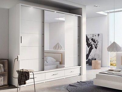 Brand New Modern Bedroom Sliding Door Wardrobe ARTI 1 250cm in Matt White Mirror