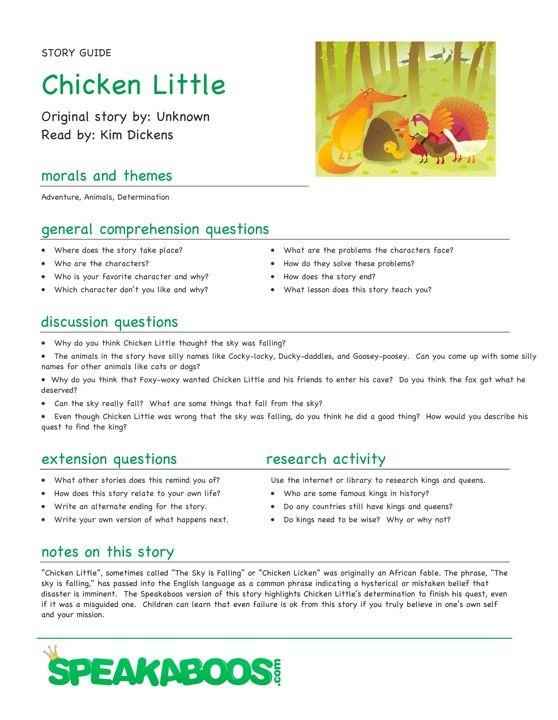 Lesson Plans: Chicken Little   Speakaboos Worksheets   pre