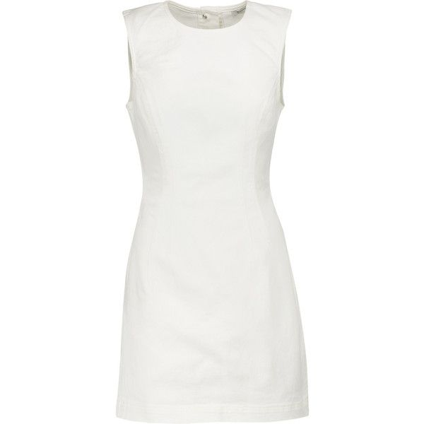 T by Alexander Wang - Cutout Denim Mini Dress ($198) ❤ liked on Polyvore featuring dresses, short dresses, vestidos, white, cutout back dresses, denim a line dress, denim mini dress, white cut-out dresses and mini dress