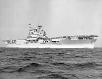 USS Yorktown (CV-5), the lead ship of her class. She was sunk in the Battle of Midway by the aircraft carrier Hiryu.