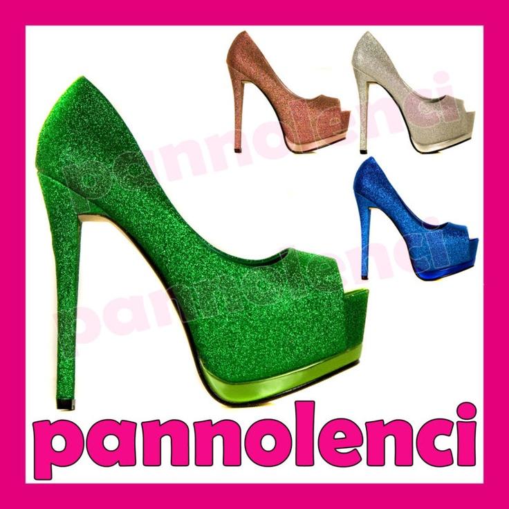 Scarpe donna decollete decoltè GLITTER plateau high heels tacchi alti 22092 | eBay