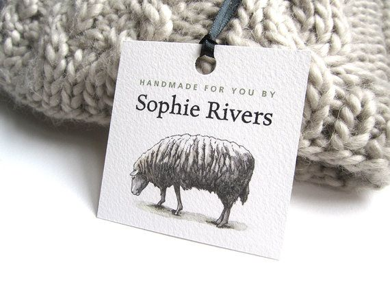 "Personalized Knitting Tag, Crochet Tag, Hang Tag with Sheep, Gift for Knitters, Sheep Tag Illustration, Set of 12 Hang Tags, 2.5"" x 2.5"""