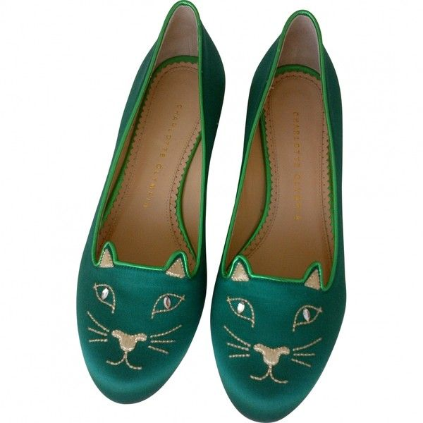 Pre-owned CHARLOTTE OLYMPIA Green Leather Ballet flats ($430) ❤ liked on Polyvore featuring shoes, flats, ballet shoes flats, green ballet flats, green shoes, ballet flat shoes and ballerina shoes