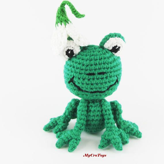 A funny crochet frog toy is perfect gift for children or adult and good for home decoration too. This toy is safe for children under 3 years (do not have any plastic accessories such as eyes etc) Materials - 100 % cotton yarn and stuffed with sintepon. Can be washed in the washing machine