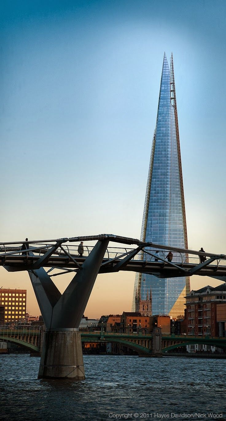 The Shard. London, England. 2012. Renzo Piano and associates. (Millennium Bridge in foreground. Norman Foster. 2000)