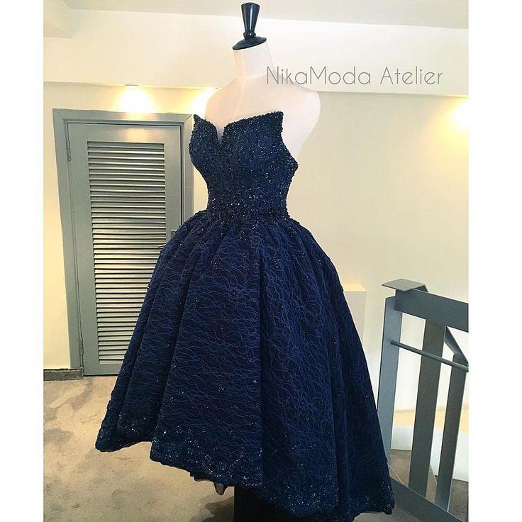 Пышное вечернее асимметричное платье ,с кружевом, камнями Swarovski,бисером и стеклярусом ❤️ цвет темно синий