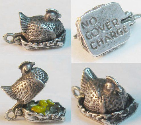 "Vintage sterling silver No Cover Charge hen charm opens to enameled chicks — sold for 110 usd - pictures in Joan""s Guide:"