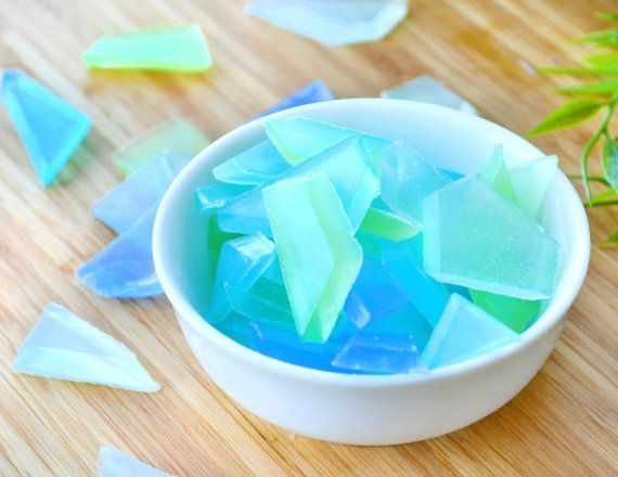 Bring the beauty of the beach into your home with these ocean scented sea glass soaps. The combination of sea moss, orchids, spring rain, airy