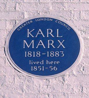 Karl Marx. Filósofo, economista. 28 Dean Street Soho W1D 3RY.