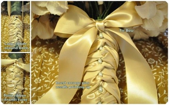 how to wrap a bridal bouquet in ribbon - braided satin ribbon with peal button accents