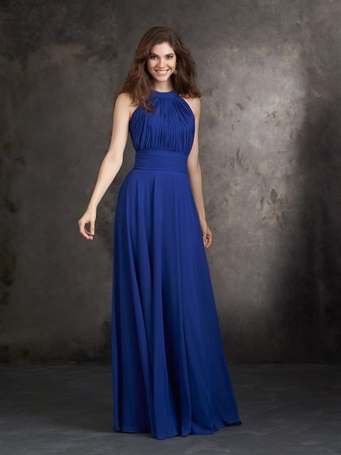 I love the neckline of this bridesmaid dress! And the brighter royal blue. Allure bridals.