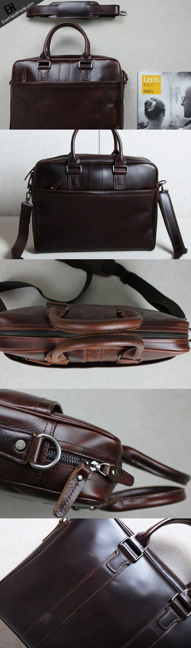 Handmade leather men Briefcase messenger coffee shoulder laptop bag vintage bag